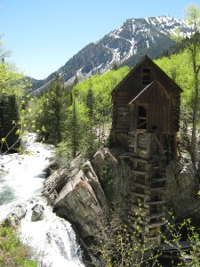 Nice shot of Crystal Mill.  The river is HIGH!
