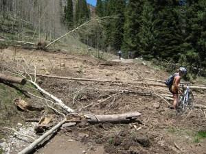 Crossing mudslide debris.