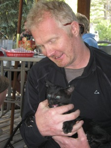 Post-ride grubbin' at Slow Groovin' BBQ in Marble.  This little kitty was stupid cute...