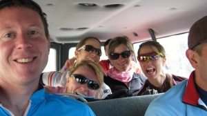 Riding the shuttle up to Monarch Crest Pass