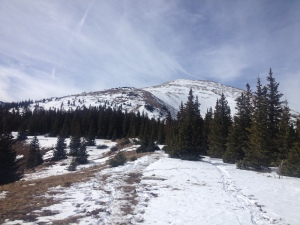 The top of Quandary in the distance.