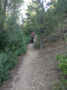 There he goes, just minutes into his individual time trial of the Colorado Trail Race.