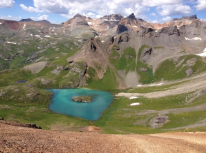 A shot of Island Lake from 13,000ft up on a crazy ridge.