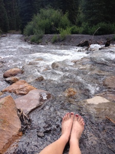 Mountain fresh cold creek water is the best on tired, achy, blistered feet! Thank goodness I painted my toes before I left....
